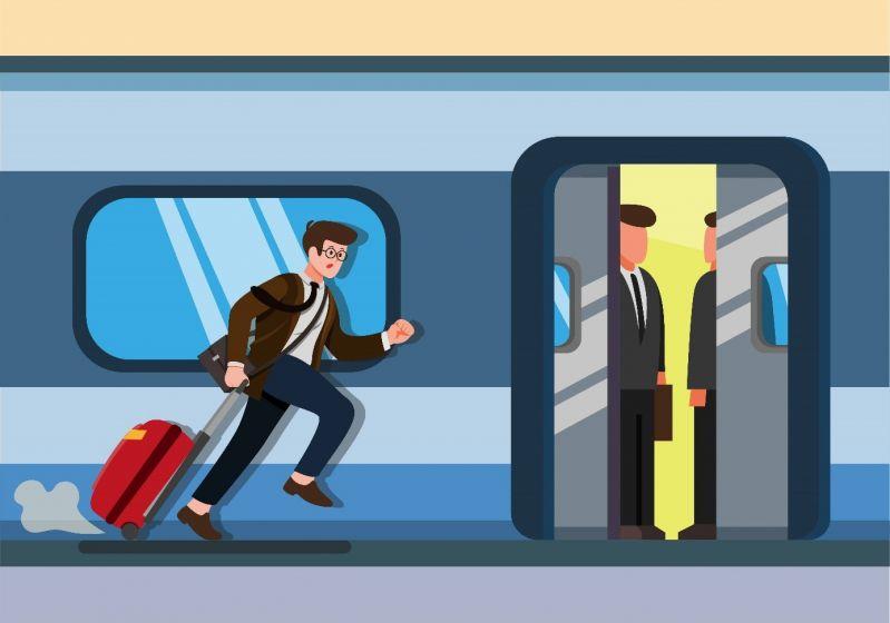 Passagier versucht seinen Anschlusszug zu bekommen